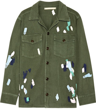Bliss and Mischief - Mitchell Embroidered Cotton-twill Jacket - Army green