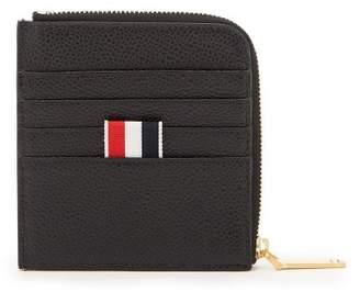 Thom Browne Label Pebbled Leather Zip Around Wallet - Mens - Black