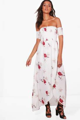 boohoo Tall Sheered Off The Shoulder Maxi Dress