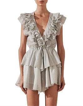 Shona Joy Rye Ruffle Drawstring Mini Dress