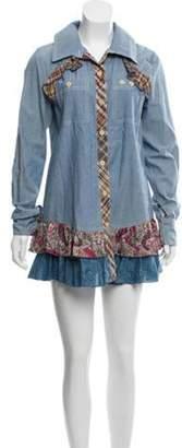 Anna Sui Long Sleeve Mini Dress w/ Tags Blue Long Sleeve Mini Dress w/ Tags