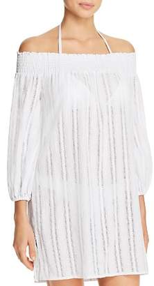 Ralph Lauren Dobby Smocked Off-the-Shoulder Dress Swim Cover-Up