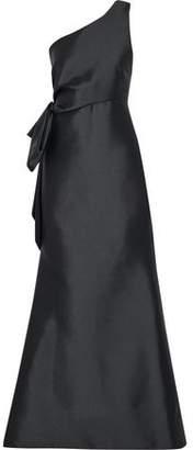Sachin + Babi Vanessa One-Shoulder Bow-Embellished Duchesse Satin-Twill Gown