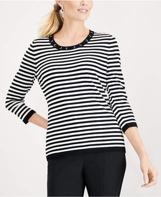 Karen Scott Petite Striped Grommet Sweater