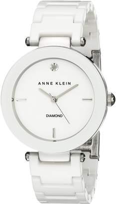 Anne Klein Women's AK/1019WTWT Ceramic Diamond Dial White Bracelet Watch