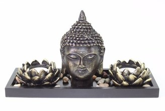 JuJu Smiling Tabletop Zen Buddha Lotus Tea Light Candle Holder Home Decor Relaxing Gift New