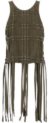Haute Hippie Fringed Studded Faux Suede Top
