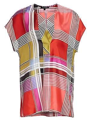 St. John Women's Madras Plaid Silk Twill Cap Sleeve Top