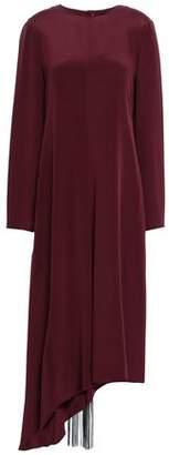 Tibi Asymmetric Tie-back Cutout Silk-crepe Midi Dress