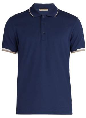 Bottega Veneta Logo Embroidered Cotton Pique Polo Shirt - Mens - Navy