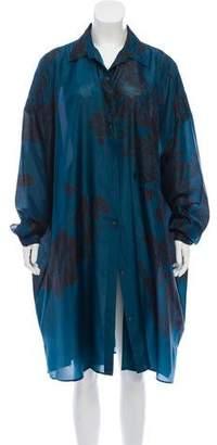 Dries Van Noten Oversize Printed Silk Midi Dress