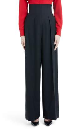 Sara Battaglia Wide Leg Stretch Wool Crepe Pants