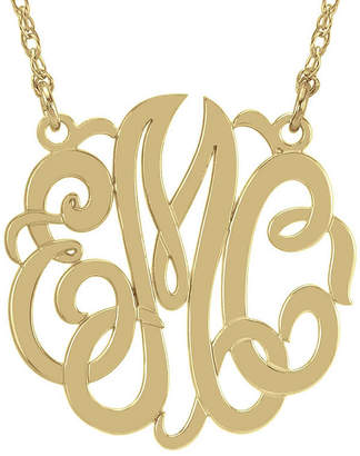 JCPenney FINE JEWELRY Personalized 14K Gold Over Sterling Silver 40mm Monogram Necklace