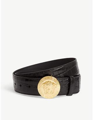 Versace Medusa head buckle croc-embossed leather belt