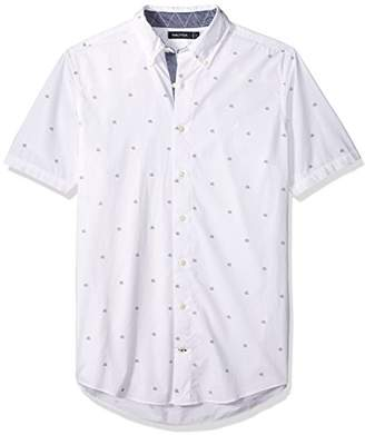 Nautica Men's Big and Tall Classic Fit Long Sleeve Print Pattern Button Down Shirt