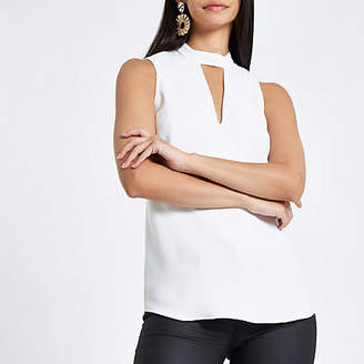 River Island White sleeveless cut out top