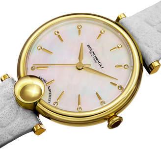 Bruno Magli 34mm Miranda Crocodile Watch, White/Gold