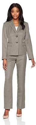 Le Suit Women's Shadow Stripe 2 Button Peak Lapel Pant Suit