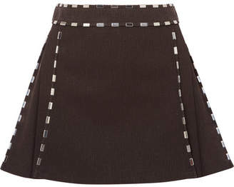 Chloé Embellished Cotton-canvas Mini Skirt - Brown