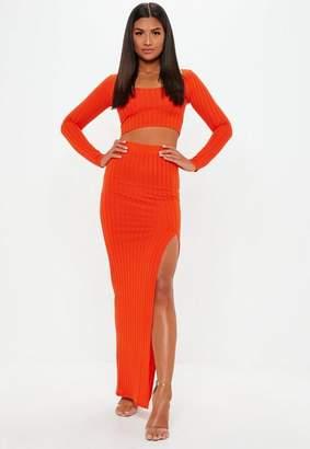 Missguided Orange Ribbed Slit Front Maxi Skirt