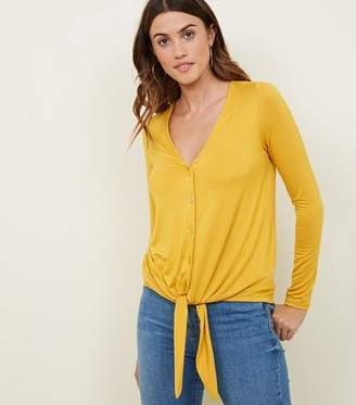 New Look Mustard Tie Button Front Long Sleeve Top