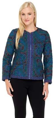 Isaac Mizrahi Live! Paisley Quilted Zip Front Jacket