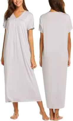 Ekouaer Womens Sleepwear Button Front Maxi Nightgown Long Nightwear Sleep  Dress S-XXL eb8ca11b2