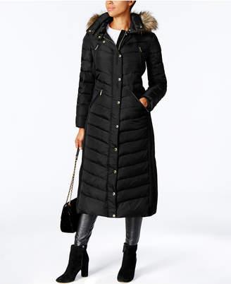 Michael Kors MICHAEL Faux-Fur-Trim Maxi Puffer Coat