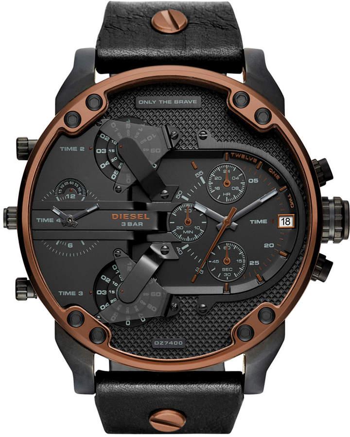 DieselDiesel Men's Chronograph Mr. Daddy 2.0 Black Leather Strap Watch 57x66mm DZ7400