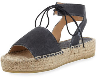 Andre Assous Samantha Suede Espadrille Sandal, Pewter $169 thestylecure.com