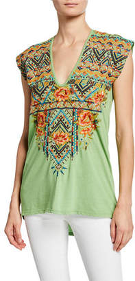 Johnny Was Sentrie Scoop-Neck Embroidered Top