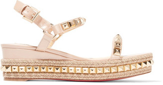 Christian Louboutin - Cataclou 60 Embellished Patent-leather Wedge Espadrille Sandals - Beige $795 thestylecure.com