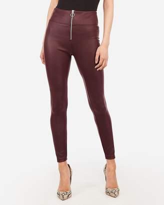 Express High Waisted Vegan Leather Zip Front Scuba Leggings