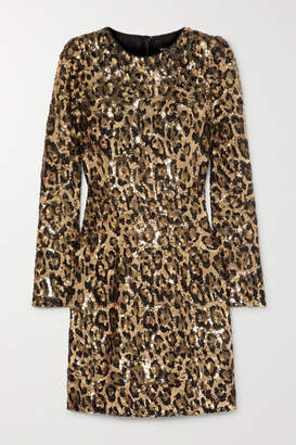 Dolce & Gabbana Leopard-print Sequinned Crepe Mini Dress - Leopard print