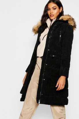 boohoo Premium Cord Faux Fur Trim Parka