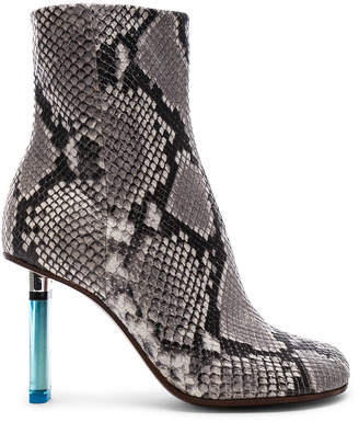 Vetements Python Embossed Ankle Toe Boots in Python & Light Blue | FWRD