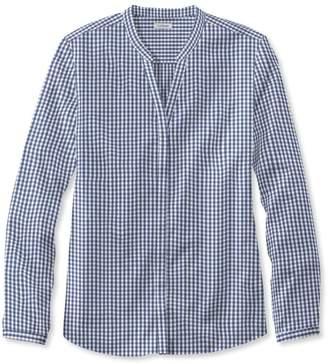 L.L. Bean L.L.Bean Wrinkle-Free Pinpoint Oxford Shirt, Long-Sleeve Splitneck Gingham