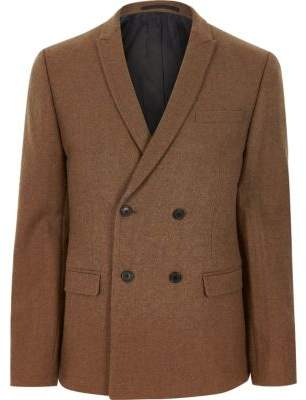 River Island Rust brown double breasted skinny fit blazer