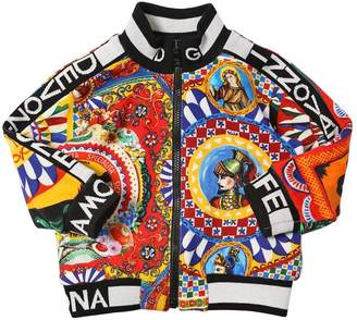 Dolce & Gabbana Carretto Print Cotton Zip-Up Sweatshirt