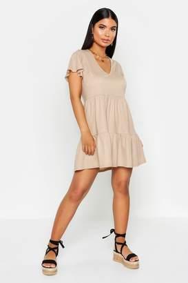 boohoo Petite Linen Look Tiered Ruffle Smock Dress