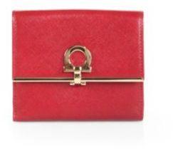 Salvatore Ferragamo Gancini Icona Vitello French Wallet $525 thestylecure.com