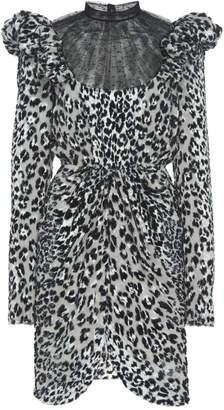 Giambattista Valli Swiss Dot-Trimmed Leopard Devore Dress