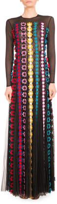 Mary Katrantzou Daisy-Applique Long-Sleeve Gown Black\/Multi
