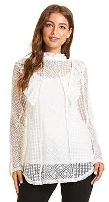 SONJA BETRO Fashion Dressy Party Mixed Lace Ruffle High Mock Neck Long Sleeve Sexy Tunic Top Blouse Ivory