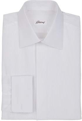 Brioni Men's Striped-Bib Cotton Voile Tuxedo Shirt - White