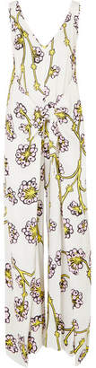 Diane von Furstenberg Marrah Gathered Printed Twill Jumpsuit - White