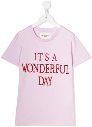 Alberta Ferretti Kids glitter-text T-shirt
