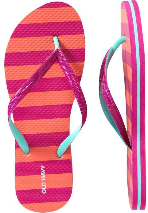 Women's Color-Block Striped Flip-Flops