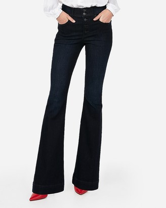 Express High Waisted Button Fly Stretch Flare Jeans