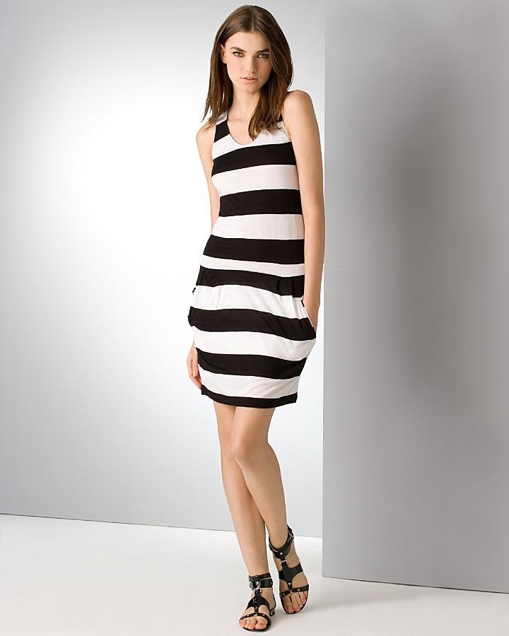 BCBGMAXAZRIA Striped Racerback Dress